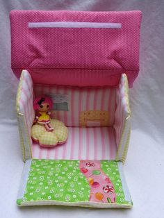 Lalaloopsy fabric dollhouse- Crumbs Sugar Cookie inspired //Ready To Ship. $34.00, via Etsy.