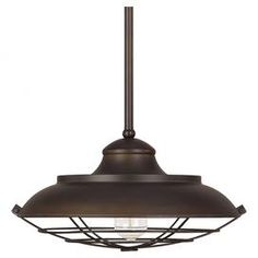 """Add contemporary appeal to your home library or breakfast nook with this charming 1-light pendant, featuring a burnished bronze finish and gridded wire design.  Product: PendantConstruction Material: MetalColor: Burnished bronzeFeatures: Gridded wire designAccommodates: (1) 100 Watt medium base bulb - not includedDimensions: 45.75"""" H x 16.5"""" Diameter"""