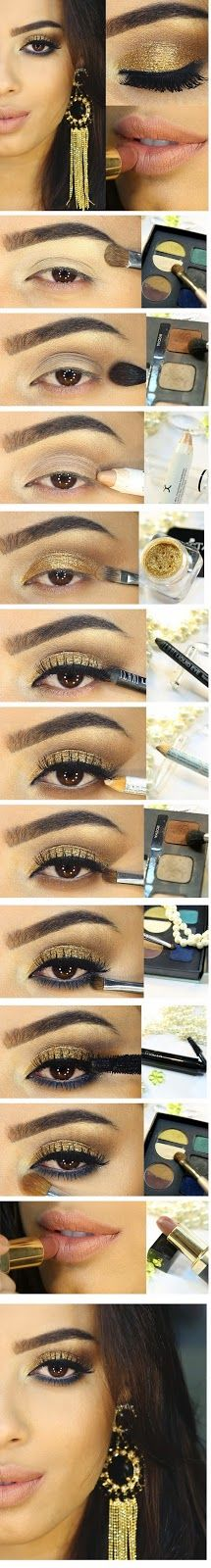 Brown Smokey Eye with Gold & Blue Makeup Tutorials # Step by Step / Best LoLus Makeup Fashion