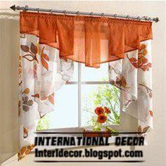 Small curtains models for kitchens in different colors - gardinen - Curtain Small Curtains, Ruffle Curtains, Curtains And Draperies, Home Curtains, Colorful Curtains, Valances, Drapery, Orange Kitchen Curtains, Orange Curtains