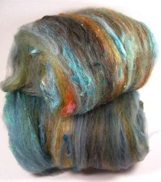 Kingman Blue Wild Card Bling Batts for Spinning and by yarnwench, $25.00
