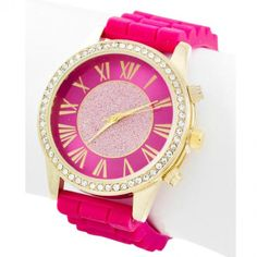Hot Pink and Glitter Watch. #colorful #fashionista #watch 9thelm.com