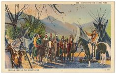 "This is a linen postcard published by C.T. Art-Colortone. It depicts a Native American Indian camp with the words, 'Watching the Signal Fire"" on the front.  The condition is very good with some wear on corners and edges. There is no writing, stamp or postmark on the back. Please examine photos."