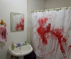 "Have you ever wondered what your bathroom might look like if a psycho killer went bananas in your shower? I have! I was trying to come up with fun and cheap Halloween decorations to make this year. I don't really have any ""theme"" to my projects (except Halloween!). I've been seeing a lot of blood-splattered stuff around opsthe Internet and in Halloween sh this year, so I decided I would make a blood-splattered decorative hand towel to add a subtle Halloween touch ..."