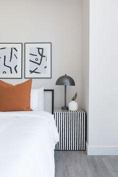 bedside interest / shop last week's top 📷featuring Taylor Bone Inlay Side Table. Home Bedroom, Modern Bedroom, Bedroom Decor, Casual Bedroom, Bedrooms, Bedroom Lighting, Bedroom Ideas, Master Bedroom, Wall Decor