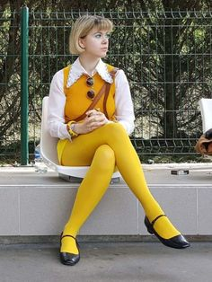 Tagged with photography, girls, pantyhose, tht; Tights and pantyhose Colored Tights Outfit, Yellow Tights, Coloured Tights, Nylons, Pantyhose Outfits, Thigh High Leggings, Tight Leggings, Fashion Tights, Skirt Fashion