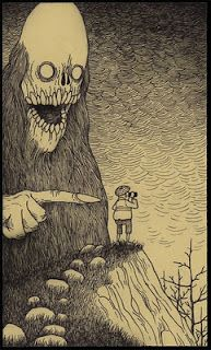 Edward Gorey + H.P. Lovecraft. I think I'm going to have to buy this guy's book.