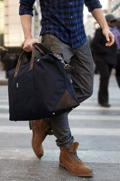 Combo of plaid shirt grey pants brown boots and a man bag! Grey Dress Pants, Men Dress, Brown Dress, Dress Shoes, Stylish Men, Men Casual, Casual Shoes, Casual Outfits, Casual Wear