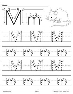 Free Letter M Tracing Worksheet