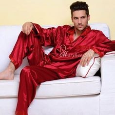 Mens Silk Satin Pajamas Set Pyjamas Set Loungewear U.S.S,M,L,XL,2XL,3XLL,4XL Plus Striped,Wine Red,L