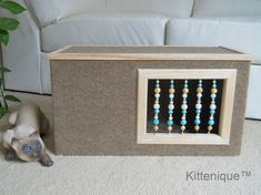 Beaded Cat House. Proudly handmade in the USA. https://www.etsy.com/listing/222365987/brown-beaded-cat-house-wooden-cat?ref=listing-shop-header-2