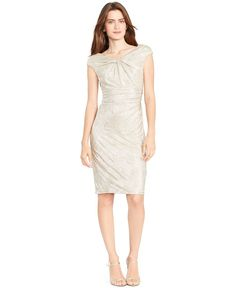 Lauren Ralph Lauren Ruched Metallic Sheath Dress