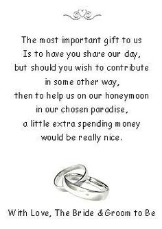 50 Wedding Honeymoon Money Request Poem Cards Rings Design For Invitations