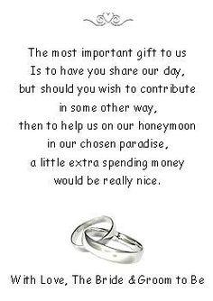50 Wedding Honeymoon Money Request Poem Cards Rings Design For Invitations