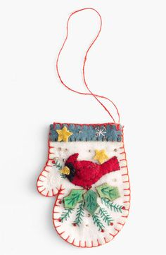 Main Image - New World Arts 'Cardinal' Mitten Ornament Felt Embroidery, Felt Applique, Christmas Embroidery, Christmas Sewing, Handmade Christmas, Felt Crafts, Holiday Crafts, Felt Ornaments Patterns, Felt Birds