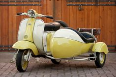 """Yellow"" Vespa with Side Car"