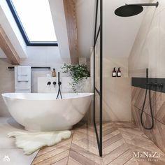 Łazienka na poddaszu - Średnia biała beżowa łazienka na poddaszu w domu jednorodzinnym z oknem, styl nowoczesny - zdjęcie od MaNaZa - homebook Loft Bathroom, Bathroom Renos, Dream Bathrooms, Beautiful Bathrooms, Small Bathroom, Bathroom Ideas, Bathroom Design Luxury, Home Interior Design, Loft Room