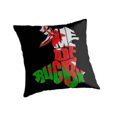 """""""Wales Home of Rugby Calligram Map"""" Throw Pillows by gamefacegear 