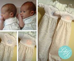 Some very precious twins showcasing Lila & G custom baby gowns! Available in any fabric of your choice and includes a free monogram.  A perfect gift you can design yourself!