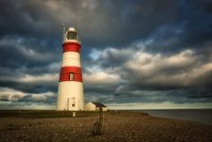 Abandoned lighthouse on the Suffolk coast in England.