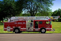 This is another one of my composite photos. The background was photographed at Shawnee Mission Park in Shawnee, Kansas. The Kansas City, Kansas Fire Truck was photograph at a local car show in the Kansas City area.