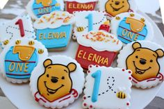 Winnie the Pooh Birthday Cookies~            No source, honey pot, blue, Orange bear, number