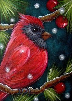 Paintings & Art Dolls by Cyra Cancel Christmas Canvas, Christmas Paintings, Christmas Art, Easy Canvas Painting, Painting & Drawing, Canvas Art, Wine And Canvas, Oil Pastel Art, Bird Drawings