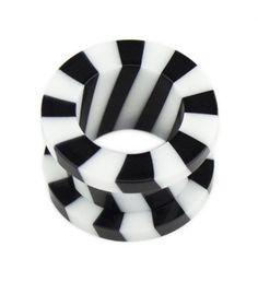 Acrylic Black & White Stripe Two-Part Flesh Tunnel #plugs #plug #fleshplug #earplug #tunnel #tunnels #fleshtunnel #eartunnel #bodyjewelry #bodyjewellery #plugsnotdrugs #pluglife #pluglove #plugsofinstagram #bodymod #bodymodification #stretches #stretchedears #earstretches #earstretching #piercing #fashion #girlswithplugs