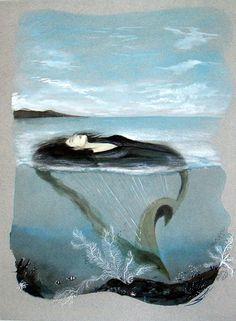 """Art aquarelle, oeuvre originale """"l'océane"""". : Peintures par atelier-les-naturels"""