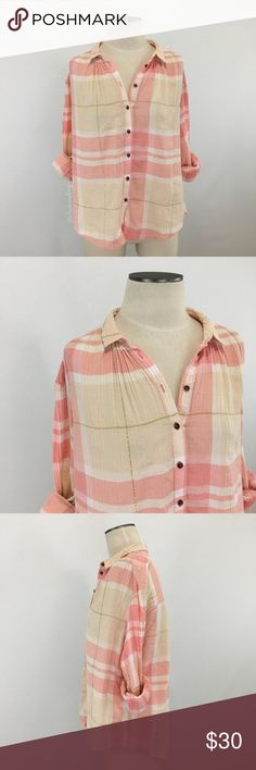 "Anthropologie- Holding Horses Pink Plaid Shirt 10 Anthropologie- Holding Horses Pink Plaid Shirt Size 10. Pink and cream plaid with gold metallic lines. Very loose relaxed fit. Sleeves, shoulders and back have a pleated detail. Shoulder-hem measures about 24"" long. Armpit-armpit measures about 23.5"" across. Tony hole on the left shoulder by the seam (pic #7). 2 extra buttons included in the tag. 98% Cotton; 2% ""Other Fibers."" Hand wash. Anthropologie Tops Button Down Shirts"