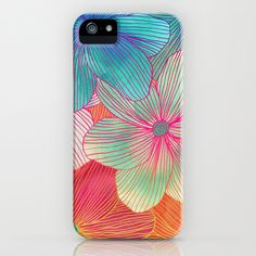 Between the Lines - tropical flowers in pink, orange, blue & mint iPhone & iPod Case by Micklyn - $35.00