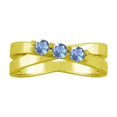 10K Yellow Gold Round-cut Three-stone Mothers Ring (Size