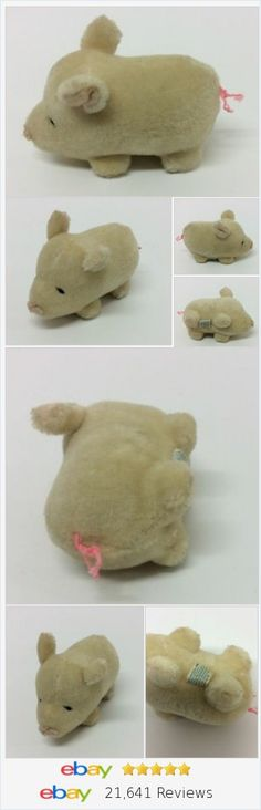 "Dakin Vintage Pig Squeaky Plush 100% Wool 4"" Mini 1981 http://stores.ebay.com/Lost-Loves-Toy-Chest?_rdc=1"