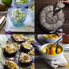 Simplement bio, simplement bon, par Valérie Cupillard - Photographies des recettes : salade d'endive, pomme verte et kiwi ; tarte black & white ; crumble de figues ; et pêches poêlées au sirop de vanille.