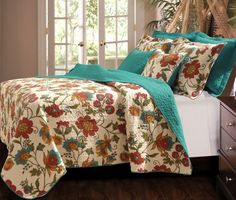 Reversible Quilt Coverlet Bedding Sham Full/Queen King Size Floral Turquoise Red