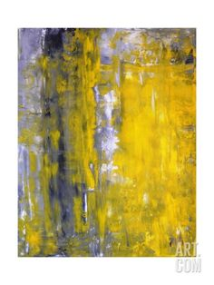 Grey And Yellow Abstract Art Painting Stretched Canvas Print by T30Gallery at Art.com