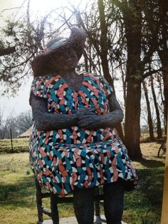 Mosaic sculpture, Laughing Lady, by Virginia Bullman and LaNelle Davis