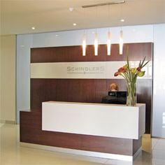 Counter Desk | Reception desk at a law firm in Melrose Arch Mahogany veneered desk ...