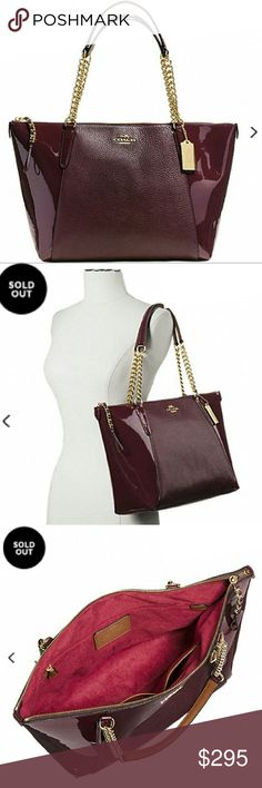 "NWT COACH | AVA CHAIN TOTE/SHOULDER BAG * Style: F55443 | ONLY ONE ON POSH!! * Color: Gold / Oxblood 1 * Pebble and patent leathers * Inner zip w/multifunction pockets | Outer slip pocket * Zip closure w/beautiful tassel braided pull * Fabric lining * Handles 9"" drop  * 16.75""L x 9.75""H x 5""W * Deep burgundy/wine color  * Gift box/dust cover only while supplies last  Reasonable offers always considered. Over 170 items listed so bundle to save more! Coach Bags Totes"