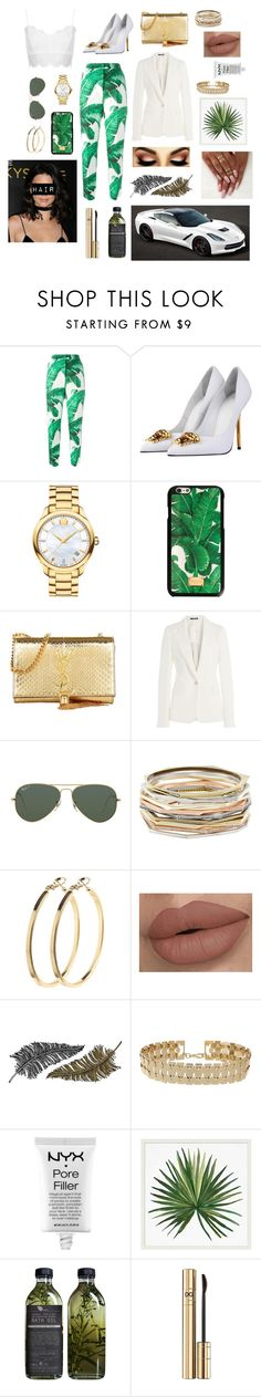 """""""Going green."""" by lilicote2002 ❤ liked on Polyvore featuring Dolce&Gabbana, Topshop, Versace, Movado, Yves Saint Laurent, Maison Margiela, Ray-Ban, Kendra Scott, Pieces and Paperself"""