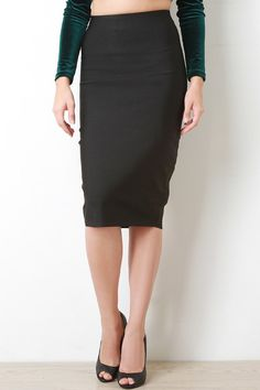 @modaonpoint Thick Bandage Knit Pencil Skirt
