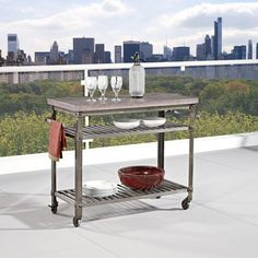 Home Styles Urban Style Aged Metal Kitchen Cart With Concrete Top-5570-9514 - The Home Depot