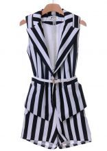 Black White Vertical Stripe Sleeveless Blazers With Shorts $57.05