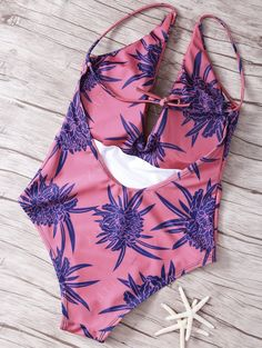 Women Tropical Print Spaghetti Straps One-Piece Swimwear - RED M