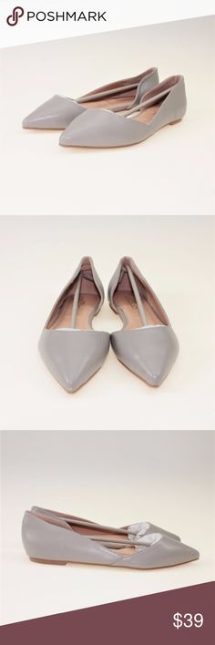 Grey Faux Leather Pointed Toe Cut-Out Flats These adorable flats will pair perfectly with any style, like business casual, formal, or everyday! They are made of an incredibly soft PU leather that is an amazing vegan alternative to the real thing. These come in a beautiful shade of taupe gray you're sure to love! Please note: These shoes come brand new and in their original box. Due to storage, however, the box does have some damage. Rest assured, the shoes not damaged. #24WD39 Journee…