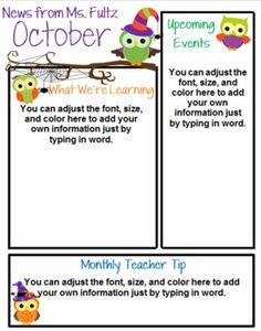 Seasonal Owl Themed Classroom Newsletter--12 templates for you to type in.  $4.00