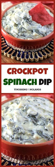 Sumptuous Spinach and Artichoke Dip and slow cooker cookbook review by Noshing with the Nolands - This creamy dip is great for entertaining. You'll be asked to make it again and again!