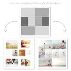 simply white life pages - digital photo templates ==> tracy-larsen.com/blog/shop