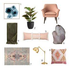 Dani Rose: Recent Finds I'm Loving Modern Bohemian Decor, Target Rug, Brass Lamp, Rose Design, Oriental Rug, New Homes, Interior Design, Rugs, Agate