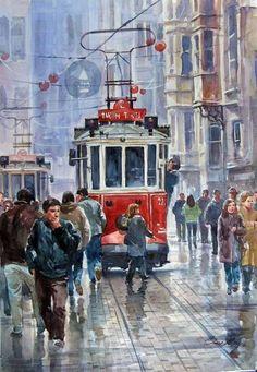 Watercolor Landscape, Watercolor Paintings, Bus Art, Turkish Art, Paintings I Love, Watercolor Techniques, Watercolor Illustration, Art Pictures, Amazing Art